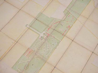 Plan du château et domaine de Saint-Aubin-de-Crétot, aux armes de la famille des...
