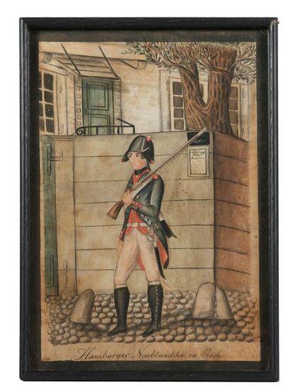 École allemande de la fin du XVIIIe siècle. Série de 5 aquarelles sur les uniformes...