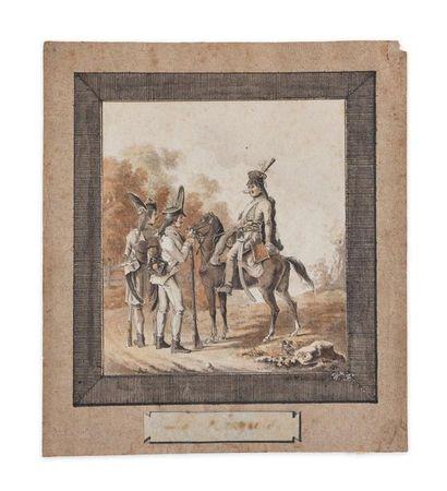 École autrichienne circa 1797. Hussards austro-hongrois...