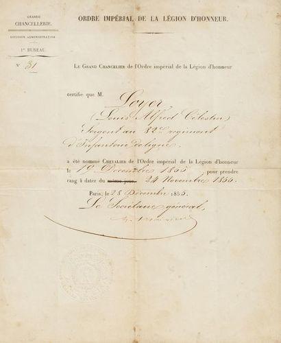Certificat de l'Ordre impérial de la Légion...