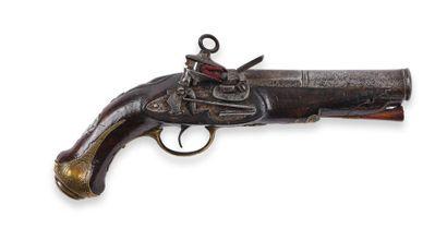 Pistolet espagnol, à silex. Canon rond, à...