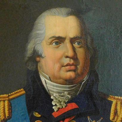 École française d'époque Restauration. Portrait du roi Louis XVIII. Huile sur toile....