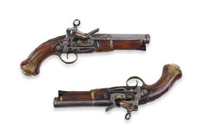 Paire de pistolets espagnols, à silex, de...