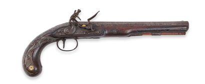 Pistolet britannique, à silex, pour l'Orient. Canon à pans. Platine signée « Wogdon...