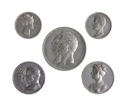 Lot de 5 médailles en étain : - Louis XVIII...