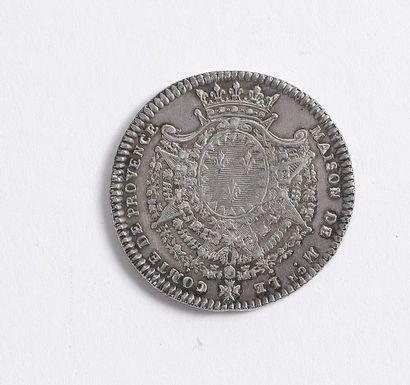 """Maison du comte de Provence. Rare jeton en argent au profil gauche de """"L(ouis)...."""