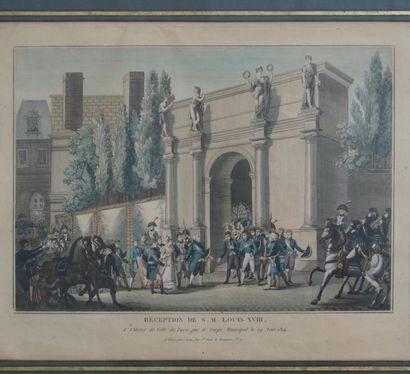 Lithographie Louis XVIII Réception de Louis...