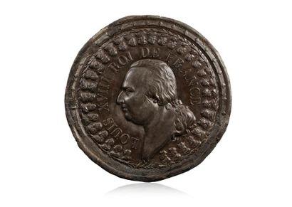 Louis XVIII, roi de France. Important médaillon...