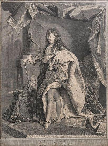 Louis XIV, roi de France Belle estampe figurant le Roi Soleil en pied, d'après le...