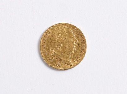Pièce en or de 20 francs de 1817 au profil nu de Louis XVIII à droite d'après Michaut,...