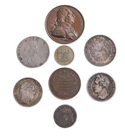 Franc-maçonnerie. Lot de 8 médailles et pièces...