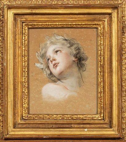 François LEMOYNE (Paris 1688-1737) Head study for the Love of Virtue in the Apotheosis...
