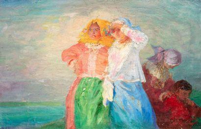 Paul CHMAROFF (Voronej 1874-Paris 1950) Famille dans un paysage Huile sur toile...