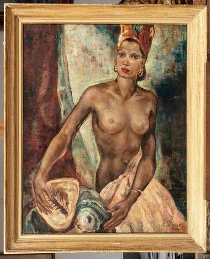 Evgenija ALEKSANDROVNA LANG (1890-1973) Femme aux coquillages Huile sur toile 92...