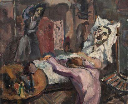 Vladimir NAIDITCH (Moscou 1903 Paris 1981) La visite au malade Huile sur toile d'origine...