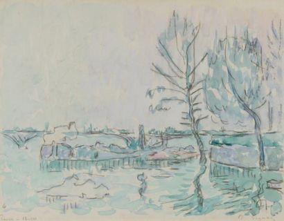 Paul SIGNAC (Paris 1863 - 1935) Paris, la Seine Aquarelle sur trait de crayon 21,5...