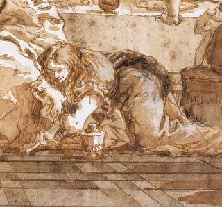 Giovanni Domenico TIEPOLO (Venise 1727 - 1804) Le repas chez Simon Plume et encre...