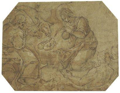 Ecole de Fontainebleau Nativité Plume et encre brune, lavis brun, sur traits de crayon...