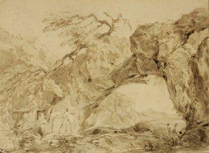 Ecole napolitaine du XVIIème siècle Paysage animé Plume et encre brune, lavis brun...