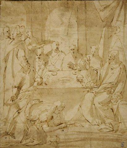 Ecole italienne du XVIIème siècle Le repas chez Simon Plume et encre brune, lavis...