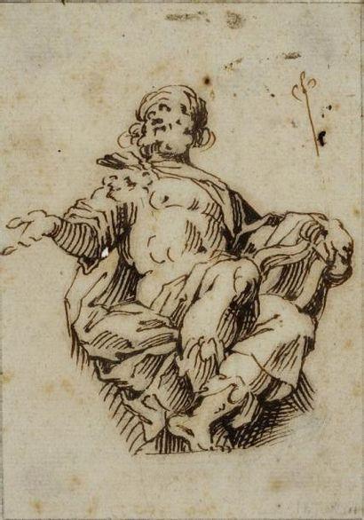 Ecole italienne du XVIIème siècle Etude d'un prophète Plume et encre brune 10,5 x...