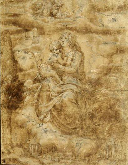 Attribué à Giulio CAMPI (Crémone 1502 - 1572) L'Immaculée Conception Plume et encre...