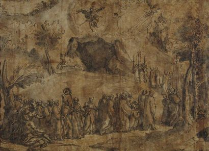 Cesare NEBBIA (Orvieto 1536 - 1634) Etude pour le plafond de la Salle des Cartes...