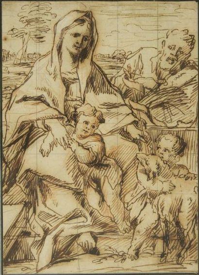 Thomas BLANCHET (Paris 1614 - Lyon 1689) La Sainte Famille avec Jean-Baptiste Plume...