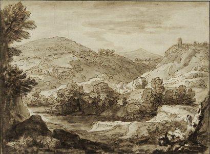 Attribué à Gaspar DUGHET (Rome 1615 - 1675) Vue d'Italie: fortification surplombant...