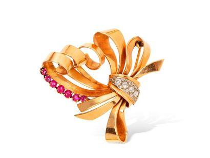 Broche nœud en or jaune rosé 18k (750 millièmes)...