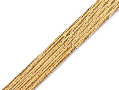 Large bracelet reversible en or jaune 18k...