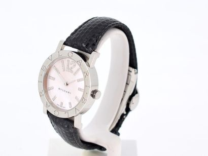 BULGARI Beautiful ladies' watch in steel on leather strap with steel folding buckle...