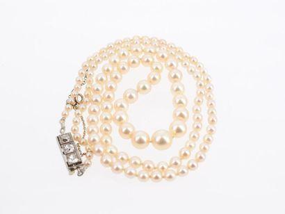 Collier de 125 perles de culture, fermoir rectangulaire en or gris 18k (750 millièmes)...