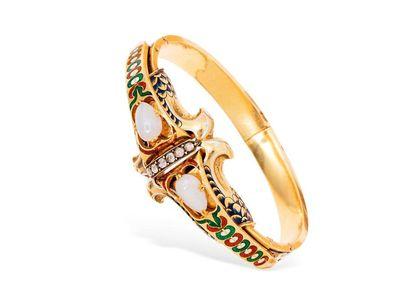 Bracelet rigide en or jaune 18k (750 millièmes),...