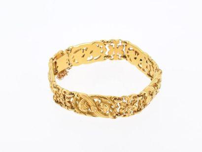 Bracelet souple en or jaune 18k (750 millièmes)...