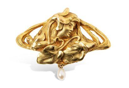 Broche en or jaune 18k (750 millièmes) figurant...