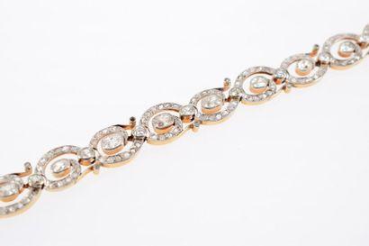 * Bracelet en or gris et or jaune 18k (750...