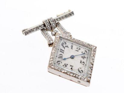 Broche-montre en or gris 18k (750 millièmes),...