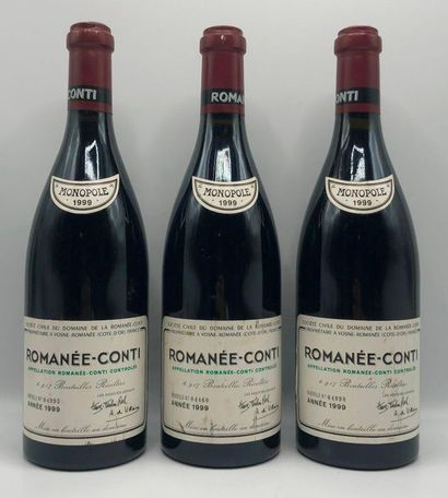 3 bouteilles ROMANÉE-CONTI, 1999 (etlt)