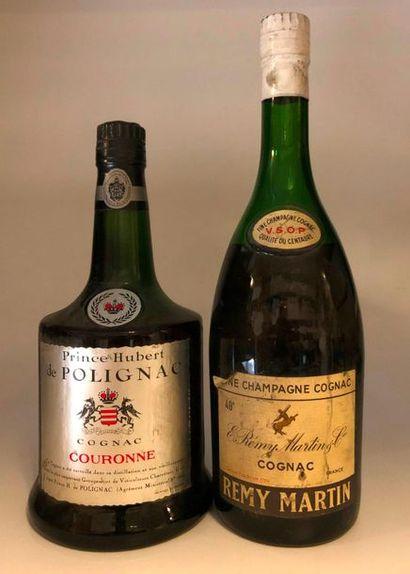 2 bouteilles SPIRITUEUX (1 Cognac Rémy Martin...