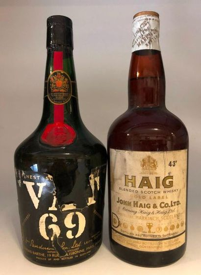 2 bouteilles SCOTCH WHISKY (Haig, Vat 69)...