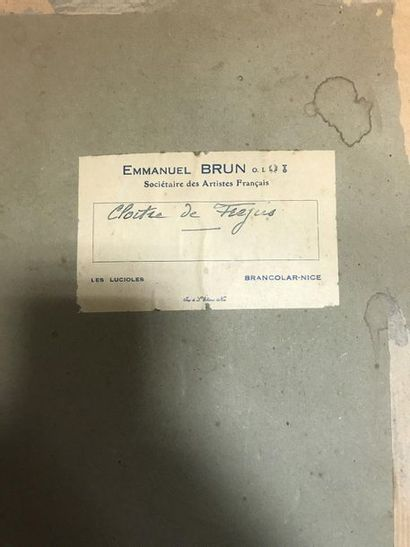 Emmanuel BRUN (XXth)  Cloister of Fréjus  Watercolour on paper  Artist's label on...