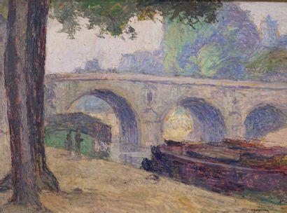 MARECHAL  Pont de Paris  Huile sur carton....
