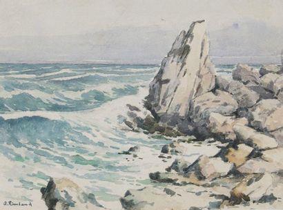 A. Rimbaud  Bord de côte  Aquarelle et crayon...
