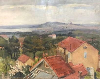 Henri REBOA (XXème)  Les toits  Signé en...
