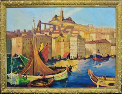 Ecole provençale du XXème  Le Vieux Port...