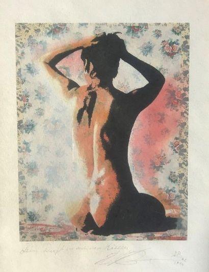Femme nue de dos  Sérigraphie  Signature...