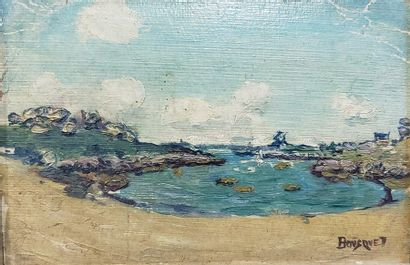 Charles BOUSQUET (1856-1946)  La Baie  Huile...