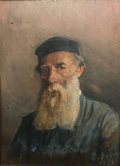 Ecole du XXème  Portrait de vieil homme  Huile...