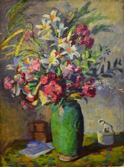 Lucien RION (1875-1936)  Le Bouquet  Huile...